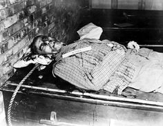 The remains of Wilhelm Frick after his execution by hanging, Nuremberg, Germany, 16 Oct 1946 -----After-----