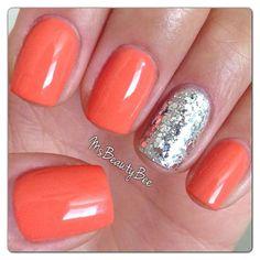 Peach Coral Nails with Rockstar Accent Nail Gelish, nail art