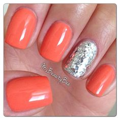 Peach Coral Nails with Rockstar Accent Nail Gelish