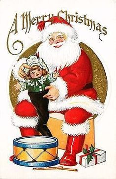 Christmas Santa Claus 1920 Santa Doll in Stocking Drum Vintage Embossed Postcard