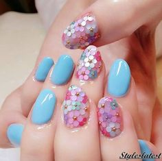 101 Cool Acrylic Nail Art Designs and Ideas to carry your Attitude Pink Nail Art, Floral Nail Art, Cute Nail Art, Acrylic Nail Art, Easy Nail Art, Cute Nails, Blue Nail, Flower Nail Designs, Simple Nail Art Designs