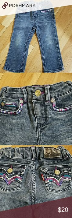 Levis Embroidered Jeans 18 months Baby Girls Adj Levis Slim Straight Leg Adjustable waist jeans for toddler baby girl in great condition. Beautiful embroidered detail. Bundle and Save even more! Levi's Bottoms Jeans