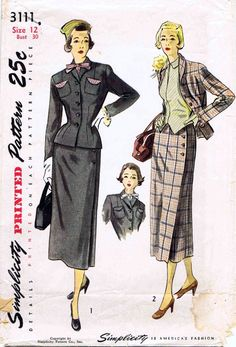 1940s Simplicity 3111 Womens Two Piece Suit Side by patternshop, $39.99