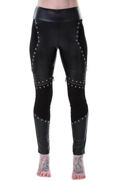 Asgård Leggings [B] Channel your inner modern-goddess; the 'Asgård' leggings exudes power and control with its slick-fit and modern metal-warrior vibe. Panel construction of jersey and leather - with stitch and zip detailing, accent studs to enhance the shape and wide waistband. A must-have statement piece that takes your outfit to the next level.