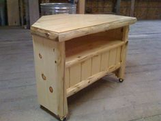 Corner Cedar Log TV Stand by Upnorthwoodworkings on Etsy, $650.00