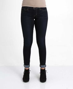 Kancan High-waisted Destructed Skinny Jeans in Dark Wash for Women ...