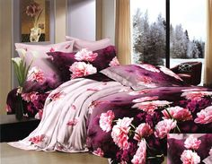 Fioletowa pościel bawełniana z różowymi piwoniami