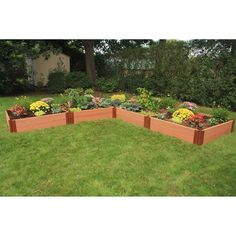 Frame It All 1-inch Series Composite L-Shaped Raised Garden Bed Kit - 12ft. x 12ft. x 11in.   from hayneedle.com