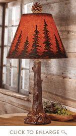 Sunset Pines Tree Trunk Lamp