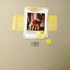 1 photo + frames + buttons-- Love the yellow patterned paper against the krafty background!