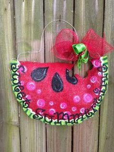 Watermelon Burlap Door Hanger by BrentonBurlaps on Etsy, $35.00 by karla
