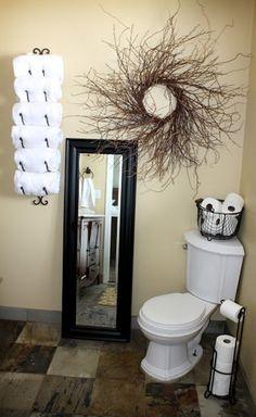 Powder Room Redo In Tuscantheme This Wrought Iron Wine Rack - Wine rack towel storage for small bathroom ideas