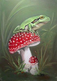 Frosch, Laubfrosch, Amphibie, Grün, Fliegenpilz, Pilz