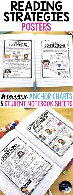 Reading Strategies Posters, Interactive Reading Strategies Anchor Charts & Student Notebook Pages (perfect for interactive notebooks)! Includes making connections, monitoring comprehension, visualizing, making inferences, making predictions, drawing conclusions, and more!  Reading Posters   Reading Anchor Charts   Reading Poster   Reading Anchor Chart   Reading Comprehension   Making Inferences Anchor Chart   Context Clues Poster