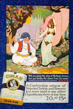 1915 Ad Omar Turkish Cigarette Art Nouveau Dancer Sultan Smoking Tobacco Turban   eBay