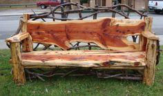 Mountain Laurel Handmade Cedar Outdoor Rustic Log Bench