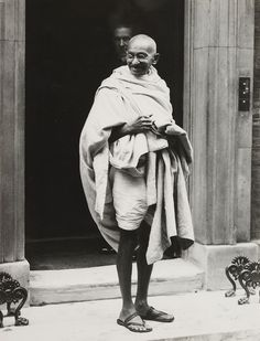 Mahatma Gandhi on the steps of 10 Downing Street, after he visited the British Prime Minister Ramsay MacDonald, 1931 -