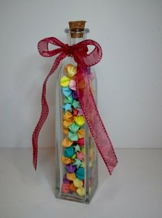Lucky Star Jar w/Multicolored Stars by FoldsOfLove on Etsy, $15.00
