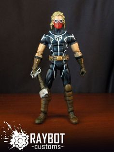 this is a marvel legends Thunderstrike (Kevin Masterson Custom Action Figure he is was made by figure realmer raybot he used a moon knight happy pinning