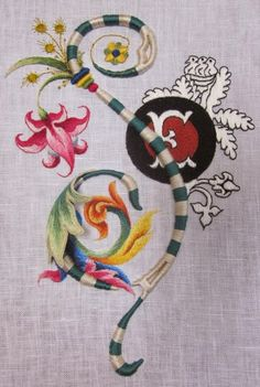 Elizabeth Hand embroidery: Souvenir of Siena - The Piccolomini Library Embroidery Monogram, Silk Ribbon Embroidery, Crewel Embroidery, Embroidery Needles, Machine Embroidery Patterns, Embroidery Designs, Victorian Fabric Patterns, Satin Stitch, Needlework