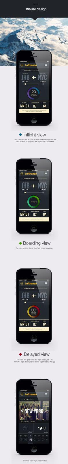 Lufthansa flight tracking app IOS7 by Calvin Pedzai. #webdesign #interactivedesign #designinspiration