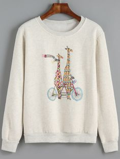 Light Grey Round Neck Giraffe Print Sweatshirt 12.00