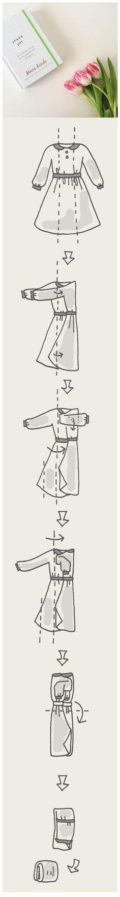 Uma ajuda visual para dobrar vestidos que ficam melhores dobrados :)