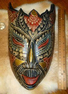 Antique Hand Carved Primitive Folk Art Tribal Painted Ornate Wood Mask Indonesi   eBay