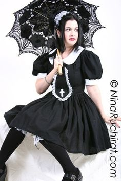 Gothic Lolita Dress Cute Cosplay Black Schoolgirl by MGDclothing, $199.95