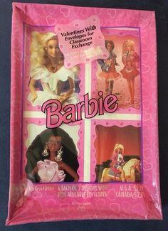 Vintage Barbie Valentines Cards Retro 90s Child Girl Kid February Classroom Doll