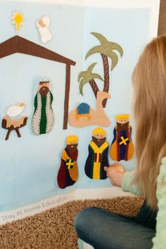 Make Your Own Felt Nativity Story with this FREE Felt Nativity Template Diy Nativity, The Nativity Story, Christmas Nativity, A Christmas Story, Felt Christmas, Christmas Crafts, Christmas Quotes, Christmas Nails, Christmas Trees