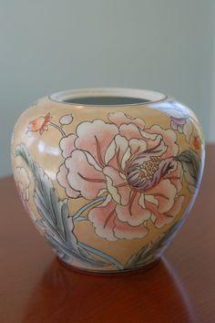 Handpainted Asian Porcelain Vase with Pink Purple Coral Flowers, Cloissone Vase, Decorative Vase, Chinese Vase