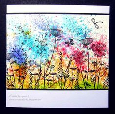 "Creative Lynks: Brusho Meadow Sprinkled various colours of Brusho on  to water colour paper, sprayed it with water & blotted it. Stamped over with Crafty Individuals stamps. Mounted it with a narrow black border on to a 6"" x 6"" blank card. Quick, easy and colourful!"