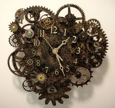 Really cool steampunk clock made from wood gears and watch parts