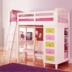 girls loft bed with desk
