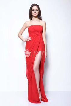 Strapless Straight Neck Draped Red Chiffon Sexy Split Prom Dress 76d4f73b0a37