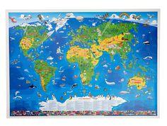 Lasten suuri maailmankartta, 12,95 €. Kartalla on yli 400 piirrosta seliteteksteineen sekä maiden nimet, rajat ja liput. Koko: 135 cm × 95 cm. Suomenkielinen. Norm. 19,90 €.  HEUREKA SHOP, 2. KRS