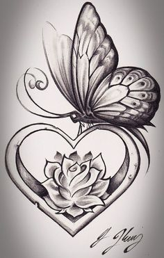 Butterfly, heart, & rose tattoo sketch.