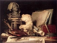 Anne Vallayer-Coster (1744–1818) : Attributes of Painting, Sculpture, and Architecture (1769)