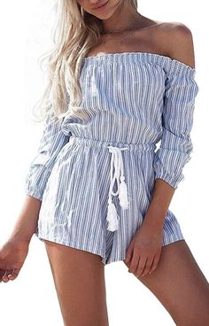 Specifications: Item Type:Jumpsuits & Rompers Decoration:Tassel Fit Type:Regular Pattern Type:Striped Style:Fashion Type:Playsuits Fabric Type:Broadcloth Material:Cotton,Linen Size Bust Waist Sleeve L