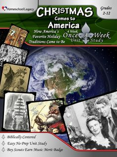 Celebrate Christmas! Christmas Comes to America embraces Jesus and the traditions we have come to associate with the  classic American Christmas. As you celebrate, your children will learn about the Dutch, German, and English settlers who first shared those traditions with the New World.  #homeschool #unitstudies
