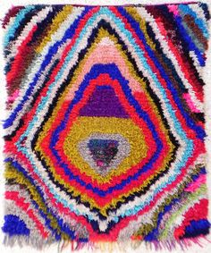 RAG  RUG BOUCHEROUITE from Morocco called also boucharouette berber tribal art, moroccan rag rug. $399.00, via Etsy.