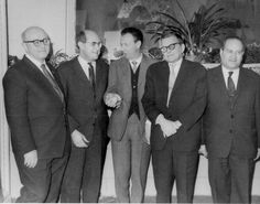 Mikhail Chulaki, Rostropovich, Britten, Shostakovich, and Oistrakh during the festival of British music in Moscow. March 1963. Credit: O. Tsesarsky