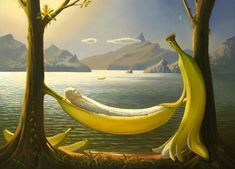 Russian artist Vladimir Kush was born in Moscow and is a surrealist painter and sculptor. He defines his art as metaphorical realism instead surrealism. His paintings are fascinated by fantasy stories. His paintings looks like influenced by Salvador Dali. Vladimir Kush, Salvador Dali, Surrealism Painting, Artist Painting, Photos Rares, Jean Arp, Fantasy Kunst, Banana Art, La Banana