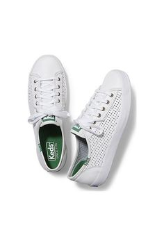 4cc3da3eecaf Leather Kickstart Keds Shoes Green Logo