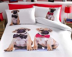 Pug Bedding Set Single Double King Duvet Cover and Pillowcase Set Dog