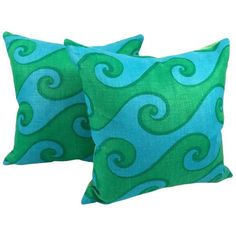 A pair of vivid blue and green wave pattern vintage hand printed linen pillows in the Sea Scroll pattern by Elenhank. 4 or more available. Linen Pillows, Throw Pillows, Sewing Circles, Scroll Pattern, Modern Pillows, Art Institute Of Chicago, Wave Pattern, Printed Linen, Catio