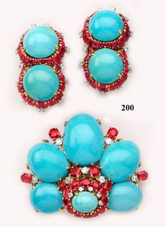 Turquoise, Ruby, Diamond & 18K Yellow Gold Brooch and Earring Set by Marchak, Paris. Outstanding, even for the jewellers house known to cater to  clients with names as Jackie Onassis & .....