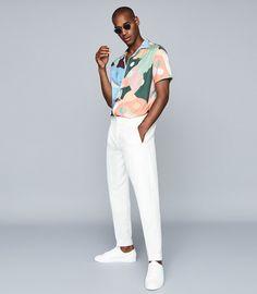 Best Mens Fashion, Fashion Line, Reiss, Modern Man, Mens Clothing Styles, Collar Shirts, Cuban, Blue Orange, Short Sleeves