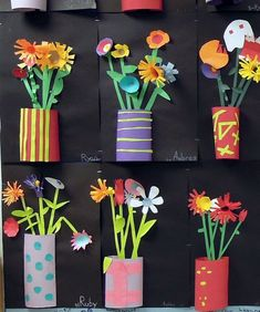 DIY: Great project for teachers to do in art class, kids to do at home with parents or grandparents for Mother's day or any day! Cut paper relief sculptures in tin can planters. by carlani Spring Art Projects, School Art Projects, Spring Crafts, Projects For Kids, 3d Art Projects, Kindergarten Art Projects, Sculpture Projects, Kids Crafts, Arts And Crafts
